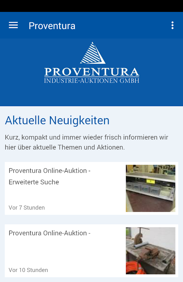 Proventura Industrie-Auktion- screenshot