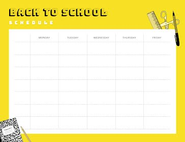 Back to School Schedule - Weekly Planner template