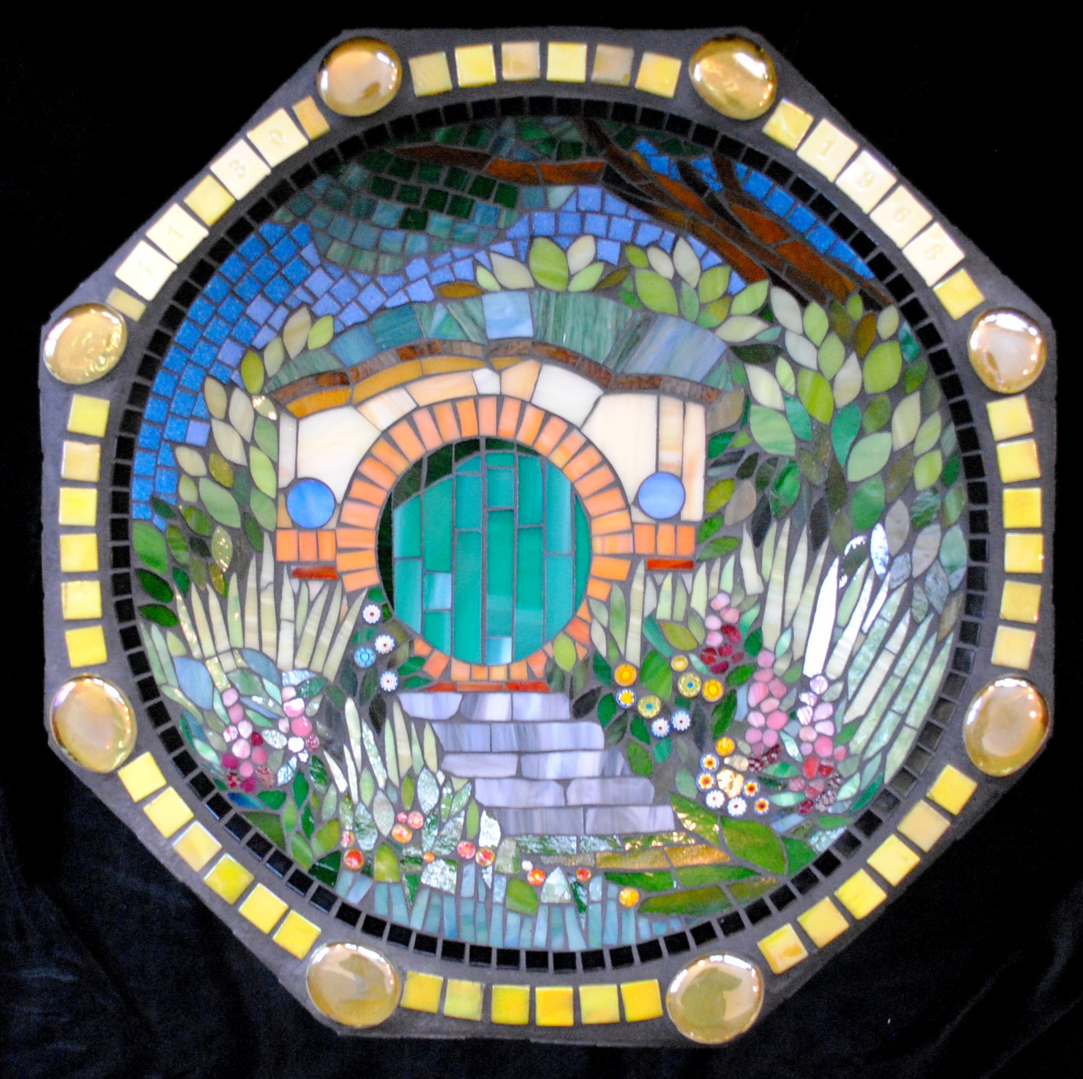 The Shire Mosaic Birdbath by Brenda Pokorny