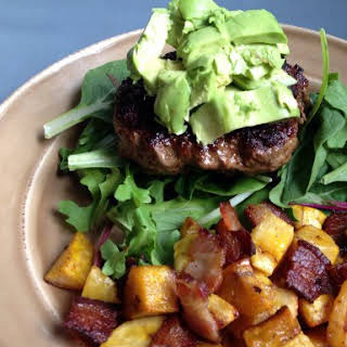 Chili Spiced Burgers with Roasted Sweet Plantains and Bacon.
