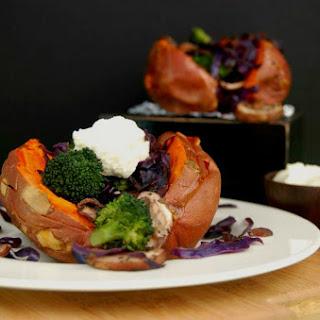 Insanely Good Baked Sweet Potatoes With Cashew Cauliflower Cream [Vegan, Gluten-Free]