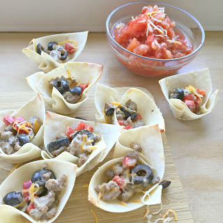 Southwest Sausage Wonton Cups with Salsa.