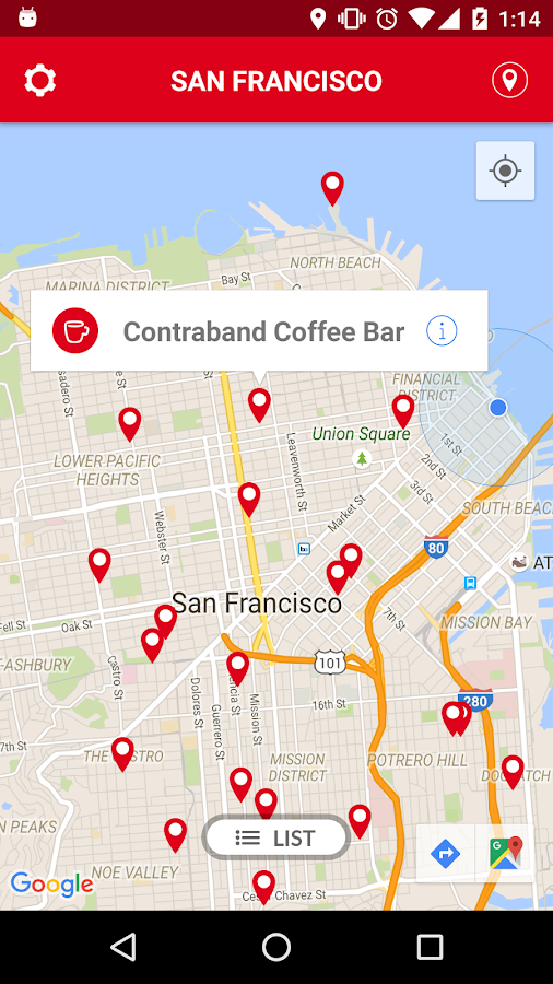 Crema find indie coffee shops- screenshot