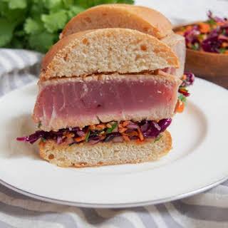 Seared tuna sandwich with Asian sesame slaw.