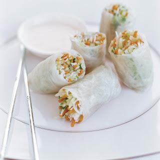 Daikon-Papaya Summer Rolls with Minted Yogurt Sauce.