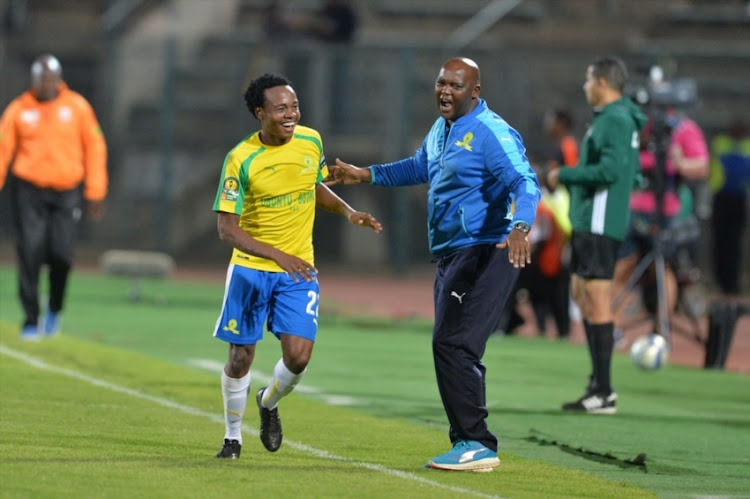 Percy Tau of Sundowns celebrates his goal with coach Pitso Mosimane during the CAF Champions League Semi Final - 2nd Leg match between Mamelodi Sundowns and Zesco United at Lucas Moripe Stadium on September 24, 2016 in Pretoria.