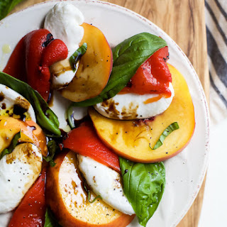 Roasted Red Pepper and Peach Caprese with Balsamic Reduction