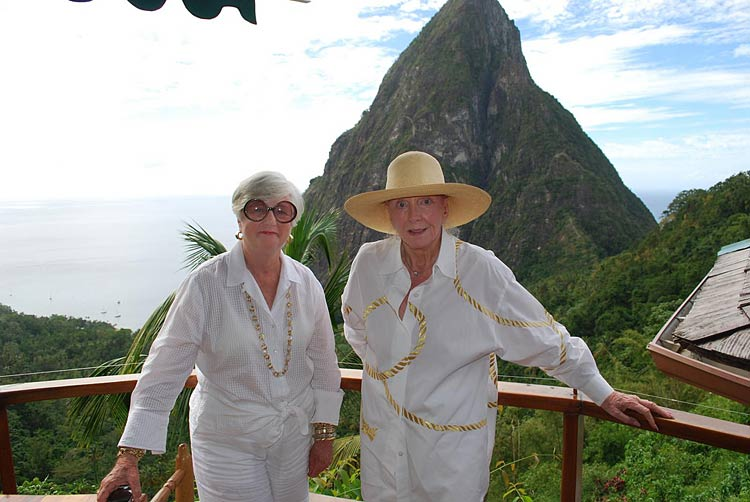 Passengers from Silver Cloud pose in front of Gros Piton during a day trip to St. Lucia.