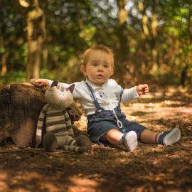 My and my cat by Piotr Owczarzak - Babies & Children Children Candids ( friends, summer, children, forest, kids, cute, young, boy )