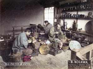 Photo: View of the workshop of N. Nogawa, a manufacturer of bronze ware on 22 Shijo Otabicho, Kyoto, Japan. Late 19th century albumen photograph. This tinted image is from the following link at Old Photos of Japan. http://www.oldphotosjapan.com/photos/253/bronze-ware-craftsmen#.VPDCWOGFl50 The site gives an indepth history of the Manufacturer. I am grateful to those who take the time to collect and document information for others to use.