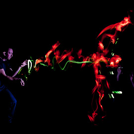 BLINDED BY THE LIGHT by Russell Mander - Abstract Light Painting ( magic light, people, colours )