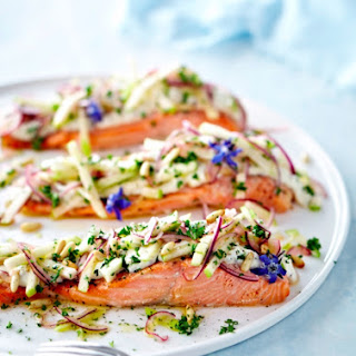 Baked Salmon with Green Apple and Pine Nut Salad.