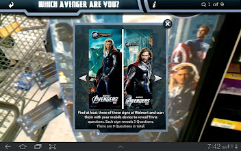 Photo: With the app, trigger points reveal trivia questions and you can find out what Avengers character you are.