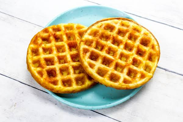 Two Chaffles On A Plate.