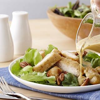 Fried Chicken Breast Salad With Vidalia Onion Pecan Dressing.