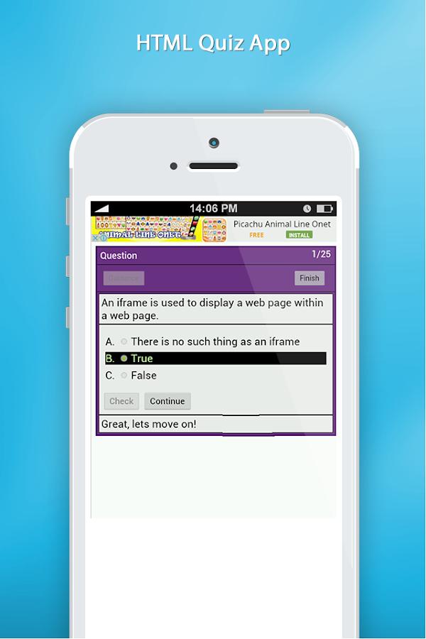 html quiz app screenshot