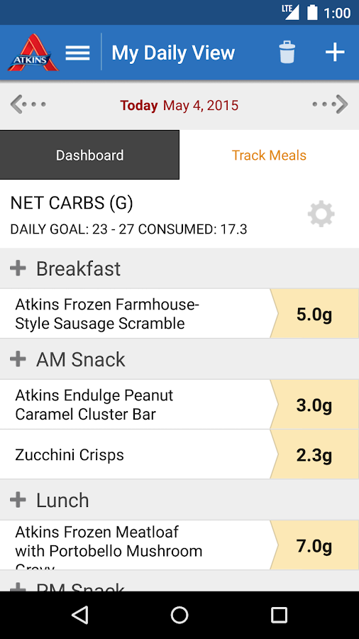 Atkins Carb Tracker- screenshot