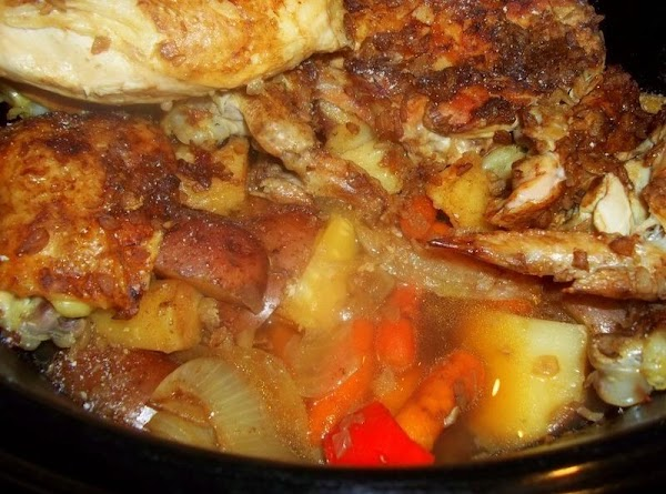 When vegetables and chicken are cooked. If you desire, make a pan gravy from...