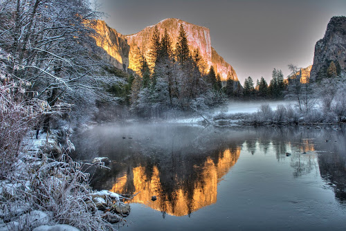 Yosemite getting ready for winter by Eleazar Valdez - Landscapes Mountains & Hills ( winter, park, yosemite, fog, sunset, snow )