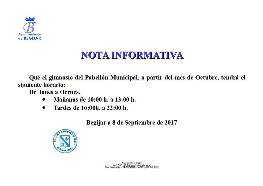 Nota Informativa Gimnasio Pabellon Municipial
