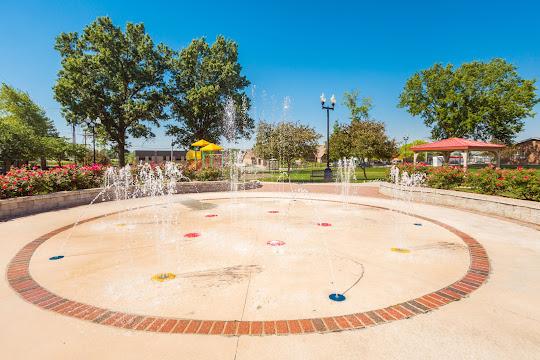 Splash pad near playground and gazebo