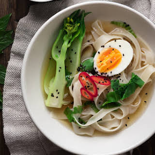 Asian Rice Noodle Soup with Bok Choy and Thai Nam Prik.