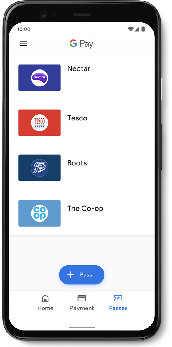 Google Pay App Sample Interface 3: Google Pay Walgreens, Panera, Dunkin' Donuts and Best Buy passes list