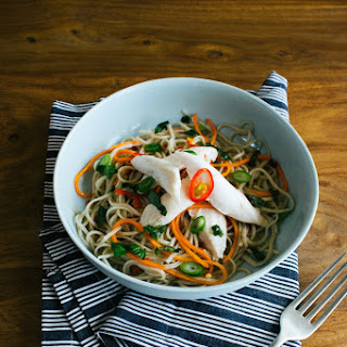 Ginger Poached Chicken with Tangy Soba Noodle Salad