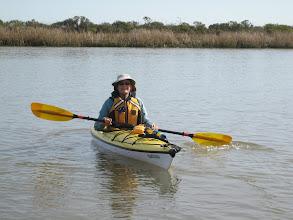 Photo: Lori in her almost kinda new kayak