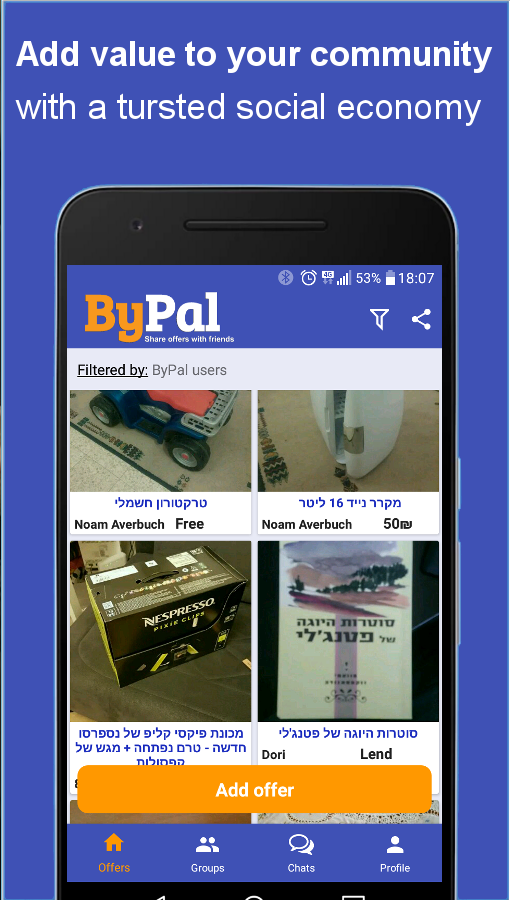 ByPal - Share items and services in your community- screenshot