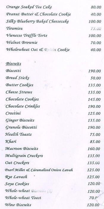 The American Express Bakery menu 1