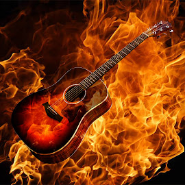 Guitar by Doug Long - Digital Art Things ( music, song, wood, musical, folk, fretboard, rock, yellow, object, instrument, fire, wooden, sound, string, acoustic, melody, guitar, brown )
