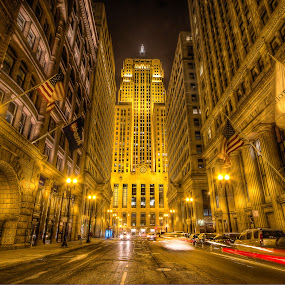 The Money Pit by Hamish Carpenter - Buildings & Architecture Public & Historical ( lights, hdr, night photography, buildings, light trails, long exposure, night, chicago, chicago board of trade, nightscape )