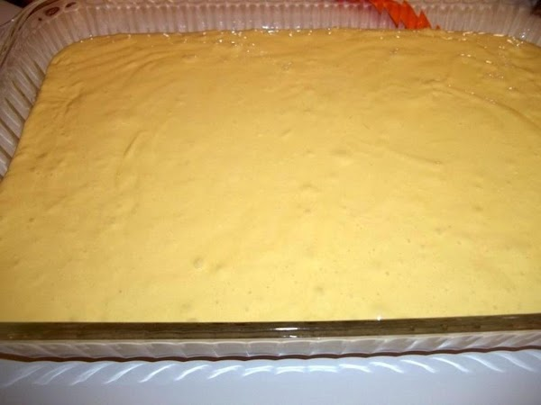 Spread evenly into a 9 x 13 cake pan. Pic didn't turn out...LOL