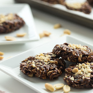 Healthier Chocolate Peanut Butter No Bake Cookies.