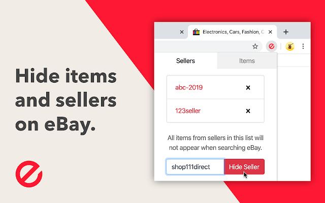Hide eBay Items and Sellers