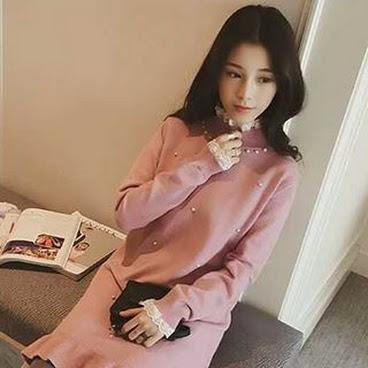 LACE袖口兼珍珠連身裙**粉紅色/黑色/米白色**