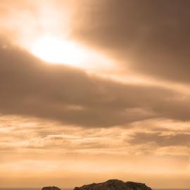 Golden sunrise above fishing island by Vyacheslav Beluha - Landscapes Sunsets & Sunrises ( islands, golden hour, fishing island, road to heaven, tropico, paradise island, blue lagoon, explore china, beautiful asia )