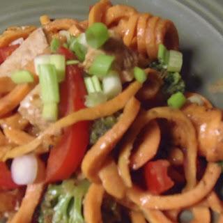Spicy Thai Peanut Chick'n & Sweet Potato Noodle Stir-Fry.