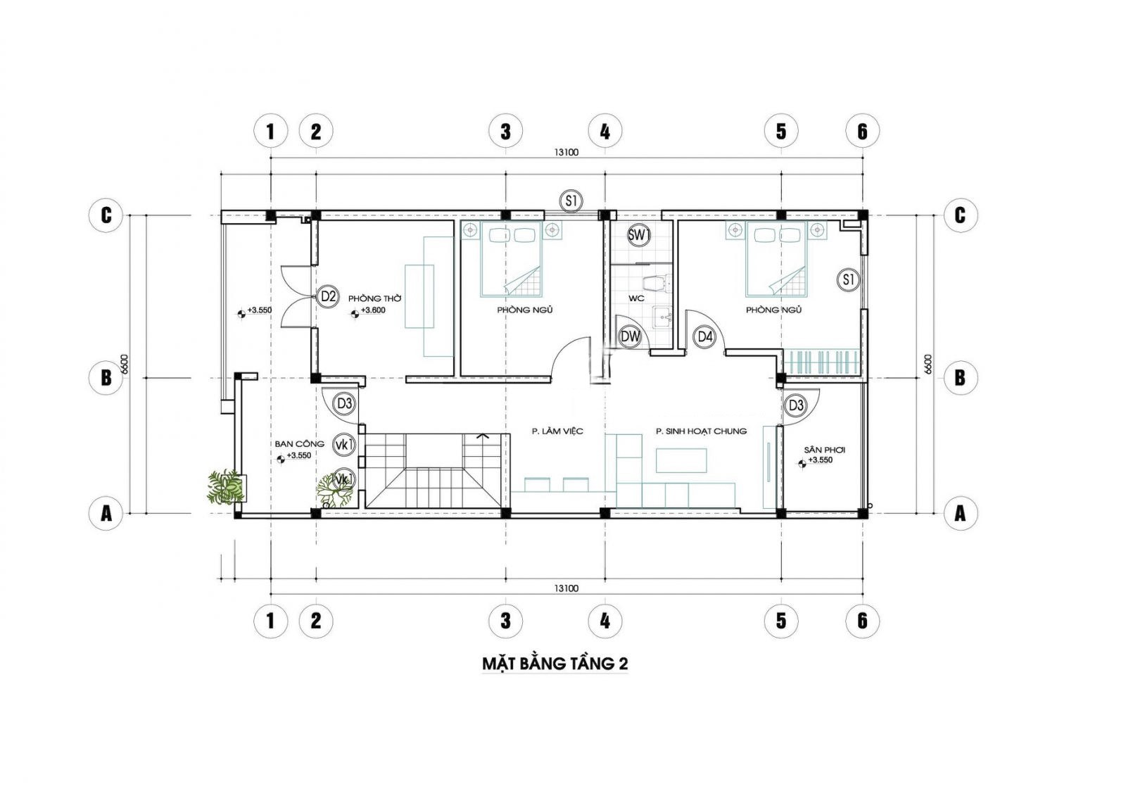 Mặt bằng tầng 2 mẫu nhà 2 tầng 3 phò