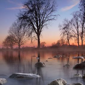 Twilight  on the lake by Dunja Milosic Odobasic - Digital Art Places (  )