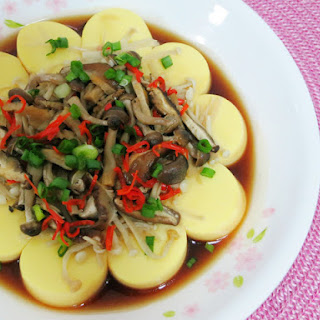 {RECIPE} STEAMED EGG TOFU WITH ASSORTED MUSHROOMS.