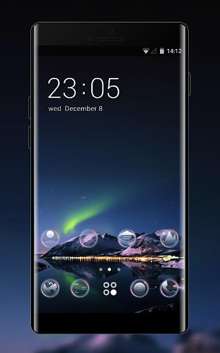 Nature theme aurora filled night wallpaper for PC