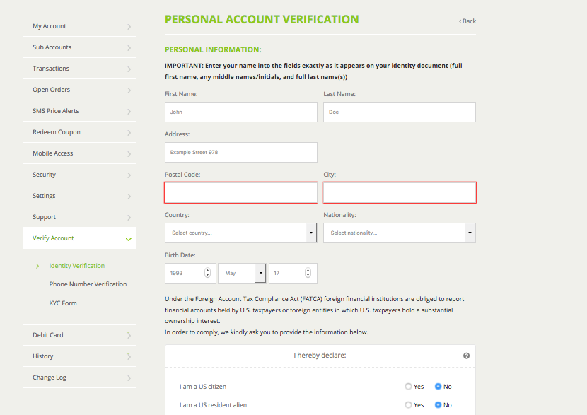 Bitstamp's account verification form