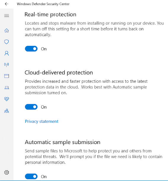 Real-Time Protection, Cloud-Delivered Protection and Automatic Sample Submission