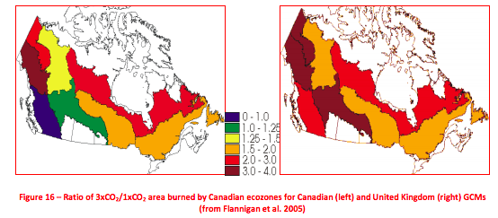 Images illustrating current area lost as a result of forest fires (left) and the future area lost by fire at the conclusion of the 21st century (right). The most significant losses are in the boreal and taiga regions of the country