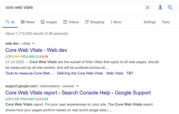 Так выглядит выдача Google с использованием плагина Core SERP Vitals