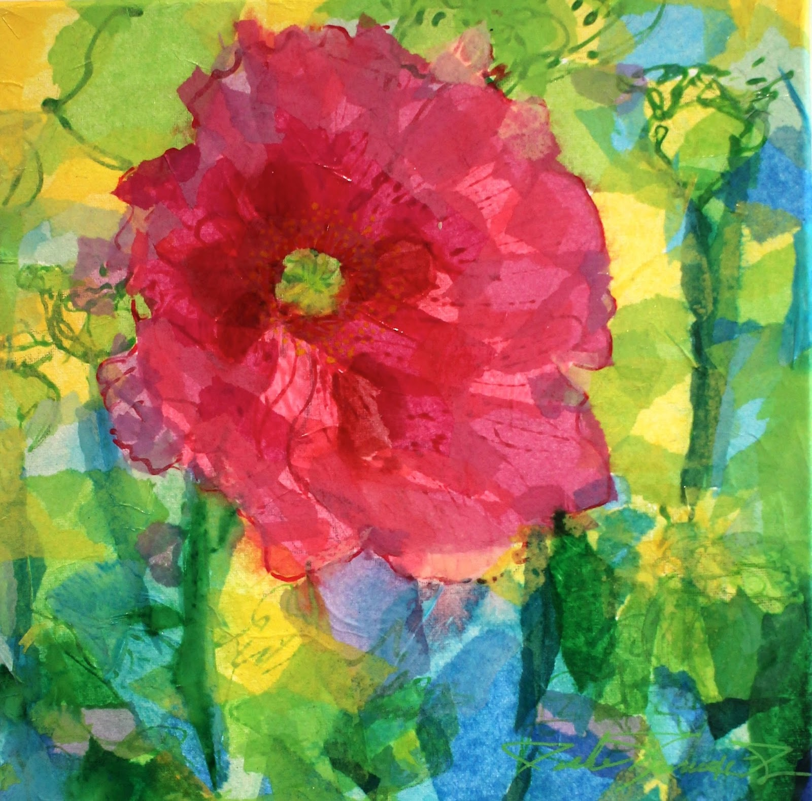 Art 5 Pink Poppy 12 x 12 mixed.JPG