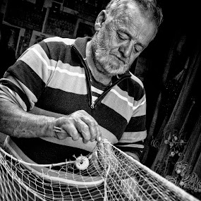 Old fisher by Antonio Rossetti - People High School Seniors ( b/w, fishing net, odl man, fisher )