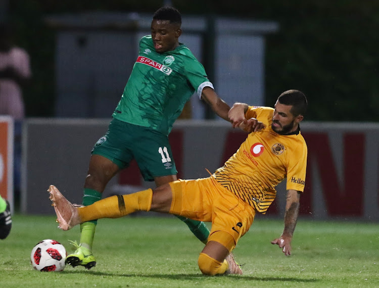 Mbongeni Gumede of Amazulu FC is tackled by Kaizer Chiefs defender Daniel Cardoso during the Absa Premiership matcat King Zwelithini Stadium on January 16, 2019. Chiefs won 3-2.